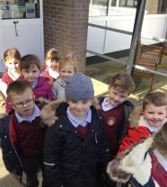 Primary 1 went on a road safety walk.